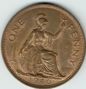 George VI, One Penny 1940 (Scarcer Year), AUNC, M9009